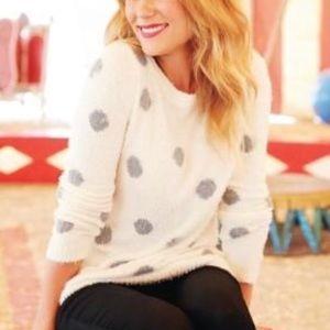 Lauren Conrad Fuzzy Polka Dot Sweater Top
